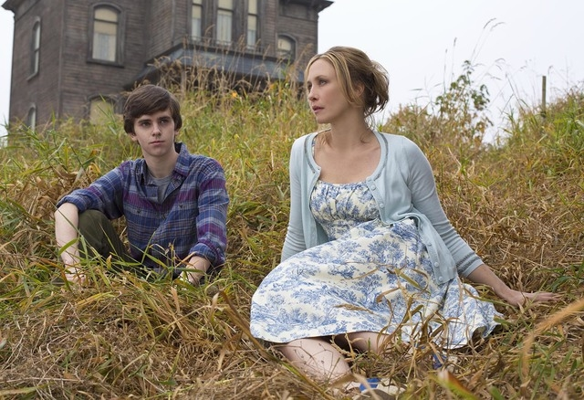 """Bates Motel Freddie Highmore as Norman Bates and Vera Farmiga as Norma Bates in A&E's """"Bates Motel"""" coming in March 2013.  Photo by Joe Lederer Copyright 2014"""