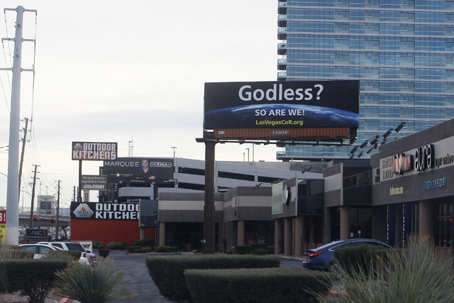 A billboard sponsored by the Las Vegas Coalition of Reason is seen along Dean Martin Drive south of Flamingo Road Wednesday, Dec. 24, 2014. (Sam Morris/Las Vegas Review-Journal)