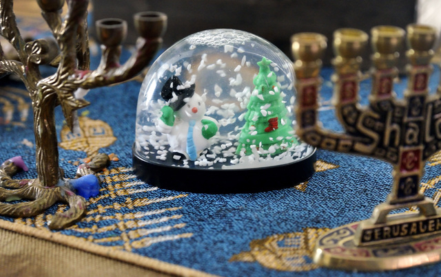 Some of the Hanukkah and Christmas decorations owned by the Sims family are shown at their home near West Lake Mead Boulevard and Harbor Island Drive in Las Vegas on Saturday, Dec. 6, 2014. (Bill  ...