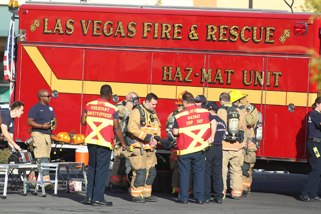 North Las Vegas Fire Department and Las Vegas Fire and Rescue and hazmat team respond to a state welfare building where people were complaining of light-headedness, at the State of Nevada Division ...