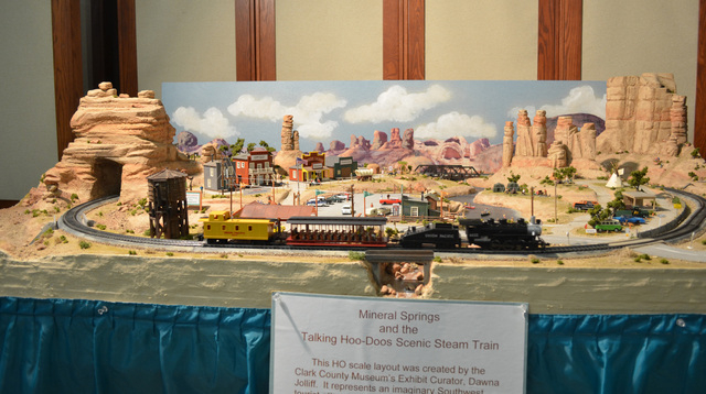 An HO scale model steam train set up by Clark County Museum's exhibit curator Dawna Jolliff was on display during Heritage Street Holidays, Dec. 14. (Ginger Meurer/Las Vegas Review-Journal)