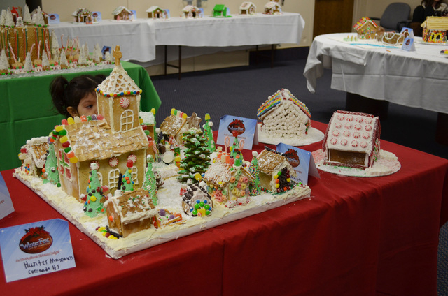Coranado High School student Hunter Maxwell's gingerbread house entry sits on display at Henderson WinterFest, Dec. 14, 2013. (Ginger Meurer/Las Vegas Review-Journal)