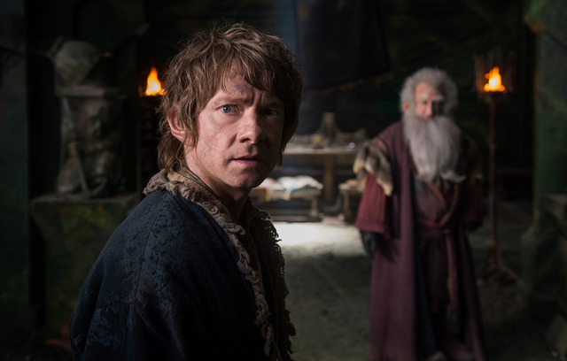 "Martin Freeman, left, as Bilbo and Ken Stott as Balin in the fantasy adventure ""The Hobbit: The Battle of the Five Armies,"" a production of New Line Cinema and Metro-Goldwyn-Mayer Pictures (MGM),  ..."
