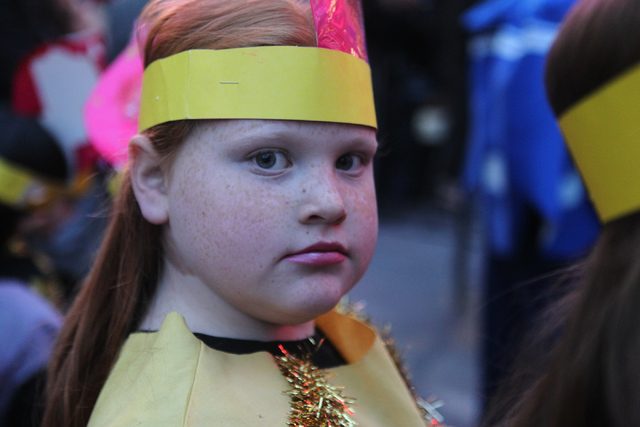 Goldie Kinn, 9, is photographed as she gets ready for her performance with the Desert Torah Academy choir during the annual Grand Menorah Lighting Ceremony at Fremont Street Experience in Las Vega ...
