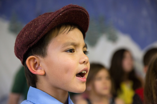 """Thomas Fitzgerald sings during rehearsals for the Montessori Visions Academy production of """"How the Grinch Stole Christmas!"""" at the school, located at 2560 N. Green Valley Parkway in Hen ..."""