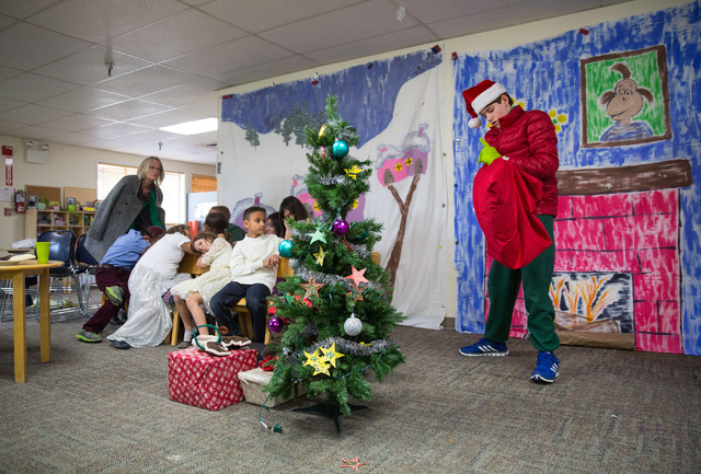"""Aidan Lang, right, rehearses for the Montessori Visions Academy production of """"How the Grinch Stole Christmas!"""" at the school, located at 2560 N. Green Valley Parkway in Henderson, on Fr ..."""