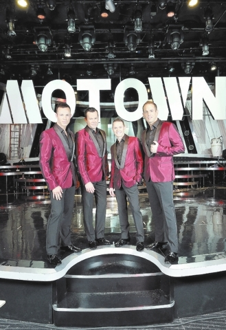 """""""Human Nature"""" cast members, from left, Andrew Tierney, Phil Burton, Michael Tierney and Toby Allen pose on the Sands Showroom stage at the Venetian hotel-casino at 3355 Las Vegas Blvd., ..."""