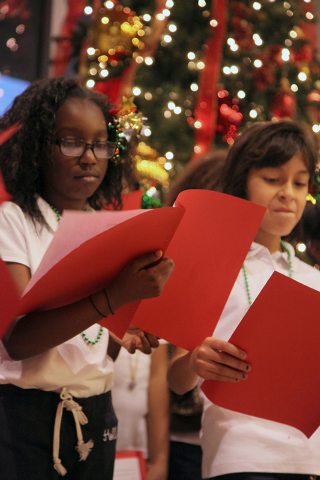 Students from Fitzgerald Elementary School sing during the Christmas tree lighting ceremony held at the North Las Vegas City Hall Dec. 5, 2012. This year's tree lighting event is scheduled at 5 p. ...