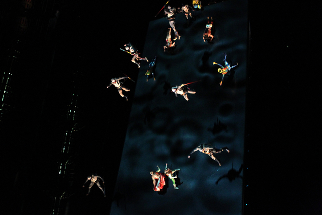"Performers with Cirque du Soleil show ""Ka"" perform the battle scene during a media event at the Ka Theater inside MGM Grand casino-hotel in Las Vegas Wednesday, Dec. 3, 2014. The battle  ..."