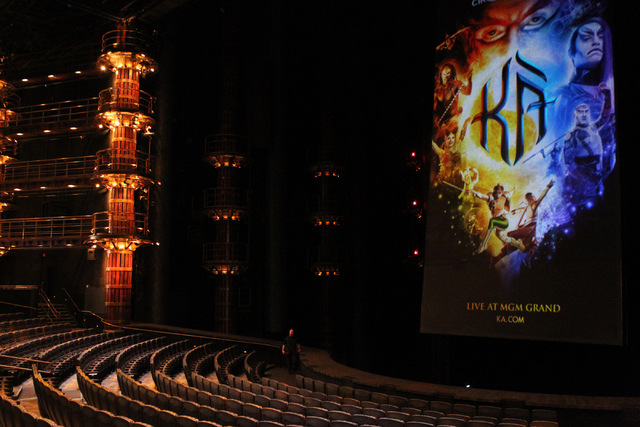 "The Ka Theater inside MGM Grand casino-hotel in Las Vegas is seen on Wednesday, Dec. 3, 2014. The battle scene is returning with new safety measures after a ""Ka"" performer fell to her de ..."