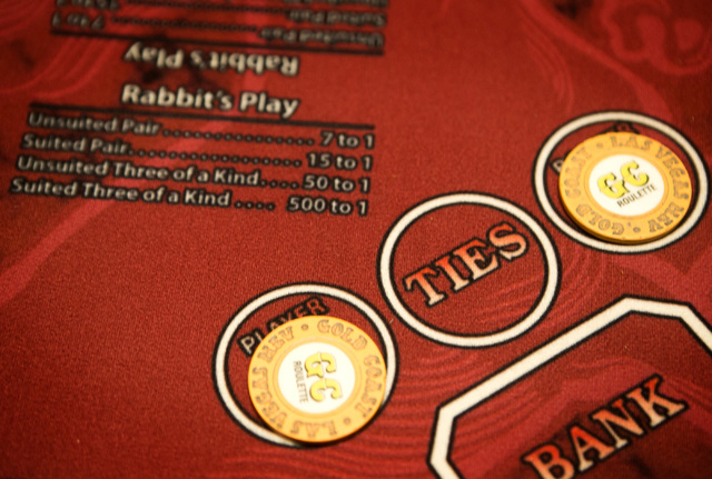 A  Rabbit's Play table is seen Monday, Dec. 15, 2014 in the Gold Coast hotel-casino.  Former UNLV basketball star Bobby Florence has developed a new baccarat game which provides side bets for cust ...