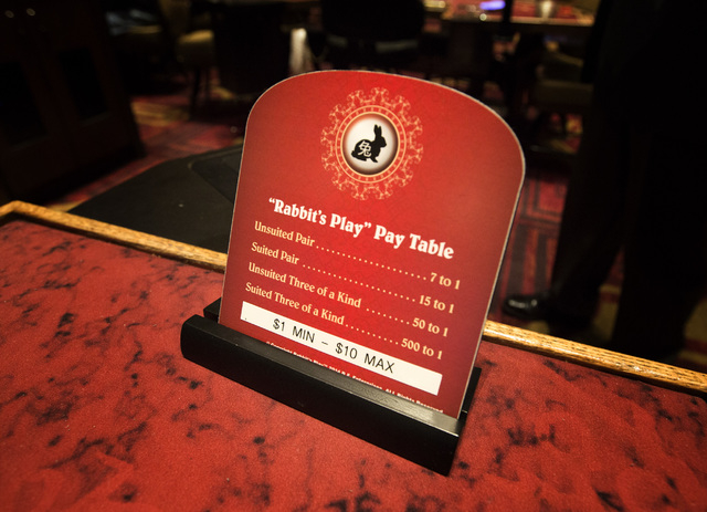 A sign showing the odds on a Rabbit's Play table is seen Monday, Dec. 15, 2014 in the Gold Coast hotel-casino.  Former UNLV basketball star Bobby Florence has developed a new baccarat game which p ...
