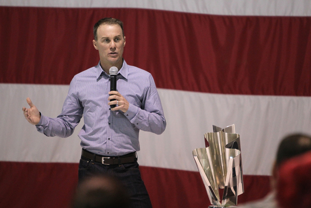 NASCAR driver Kevin Harvick speaks during a presentation for airmen and family members at the Nellis Air Force Base in Las Vegas Tuesday, Dec. 2, 2014. Harvick, winner of the 2014 NASCAR Sprint Cu ...