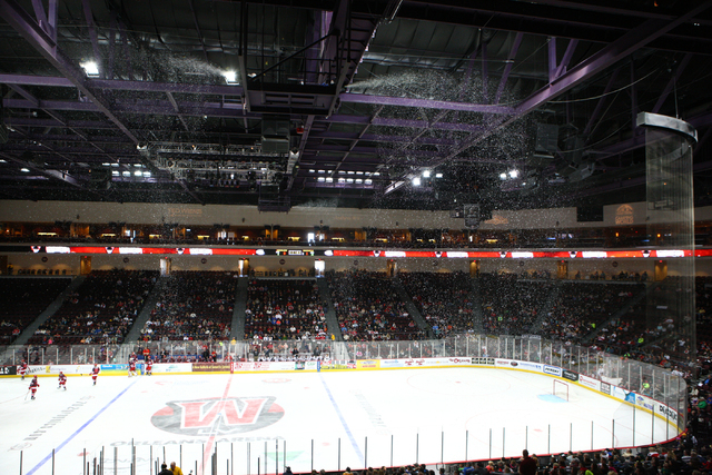 Among the Wranglers' promotions: an indoor-outdoor game. Snow falls in the crowds as the Las Vegas Wranglers play the Bakersfield Condors at the Orleans Arena in Las Vegas on Wednesday, Jan. 1, 20 ...