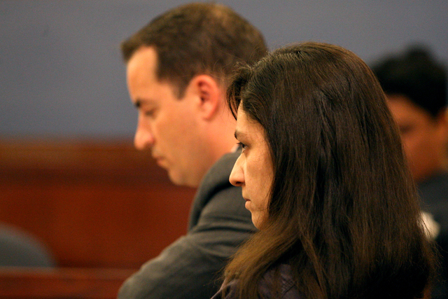 Galina Kilova, woman accused of leaving the scene of a hit-and-run accident that killed a man while he was pushing his granddaughter in stroller, listens to testimony from Dustin Krause during a p ...