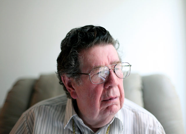 "Korean War veteran Charles ""Chuck"" P. Mahoney sits in his Las Vegas home, Tuesday, April 10, 2012. Mahoney, who was wounded during the war was denied disability when he applied for benefits back t ..."