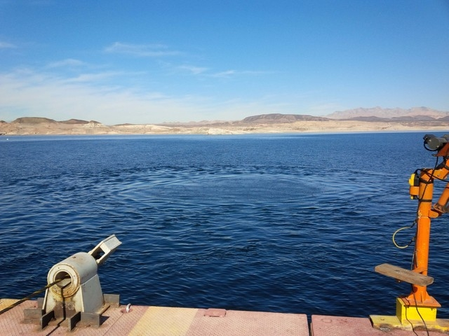 A circle of bubbles and ripples appear on the surface of Lake Mead early Wednesday afternoon, marking the moment an underground tunneling machine broke through into a water intake structure at the ...