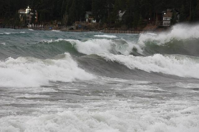 High waves roll on Lake Tahoe as a powerful Pacific storm moved into Northern Nevada on Thursday, Dec. 11, 2014. Wind gusts reached 140 mph in Sierra Nevada passes near Reno. (Courtesy/Facebook, P ...