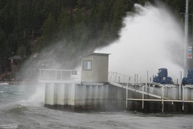 High waves crash on Lake Tahoe dock as a powerful Pacific storm moved into Northern Nevada on Thursday, Dec. 11, 2014. Wind gusts reached 140 mph in Sierra Nevada passes near Reno. (Courtesy/Faceb ...
