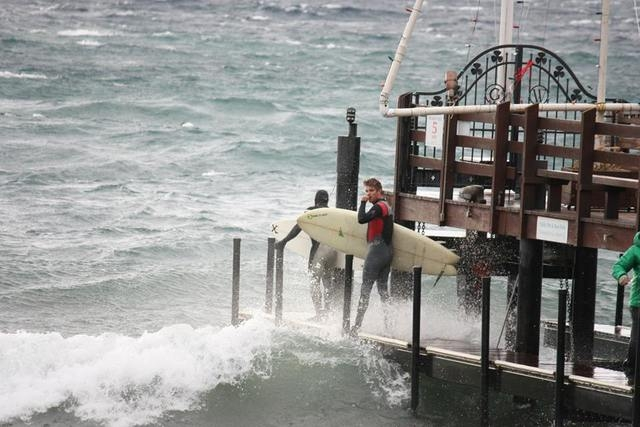 Surfers took advantage of high waves on Lake Tahoe as a powerful Pacific storm moved into Northern Nevada on Thursday, Dec. 11, 2014. Wind gusts reached 140 mph in Sierra Nevada passes near Reno.  ...