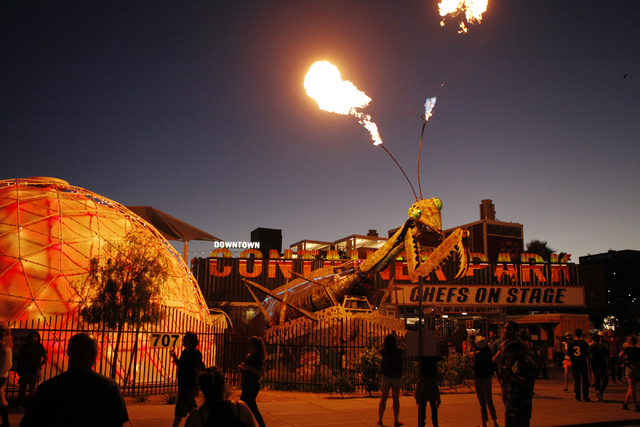 An art installation at the Container Park lights up the night on Oct. 25, 2014 in downtown Las Vegas (Erik Verduzco/Las Vegas Review-Journal)