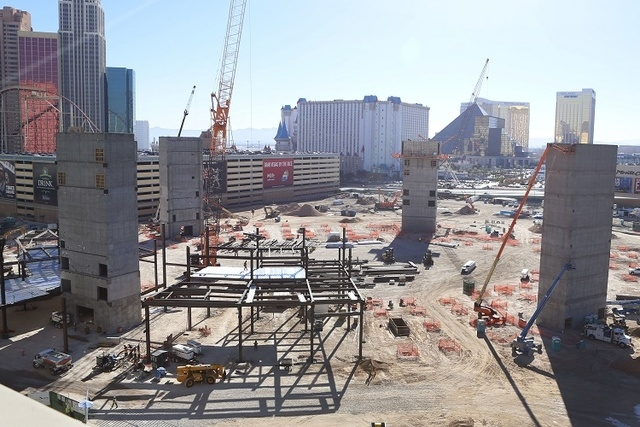 The construction site of the MGM Resorts International and AEG indoor arena located behind the New York-New York casino-hotel in Las Vegas is seen Thursday, Nov. 20, 2014. (Bizuayehu Tesfaye/Las V ...