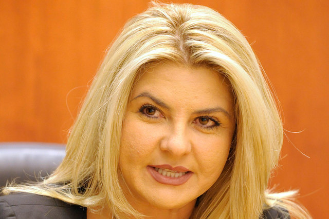 Michele Fiore speaks to the Las Vegas Review-Journal editorial board on Sept. 25,  2014. During a radio interview on Tuesday, Dec. 16, Fiore said she is fully in compliance with the Internal Reven ...