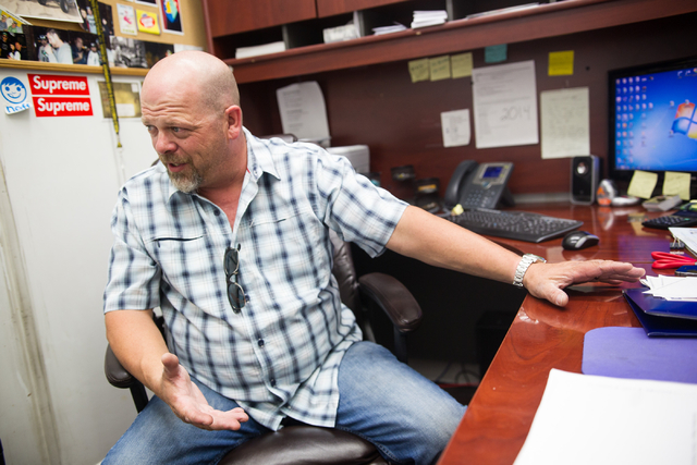 """Rick Harrison of the reality TV show """"Pawn Stars"""" speaks during an interview with the Review-Journal at Gold & Silver Pawn shop in downtown Las Vegas on Thursday, July 17, 2014. (Chase S ..."""