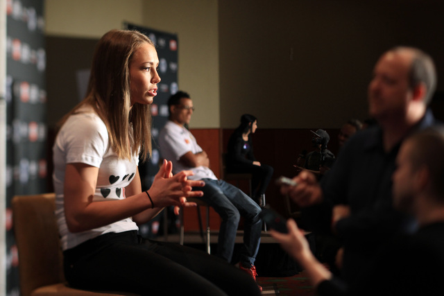 Rose Namajunas answers a question during media day in advance of The Ultimate Fighter 20 finale Wednesday, Dec. 10, 2014 at the Palms. (Sam Morris/Las Vegas Review-Journal)