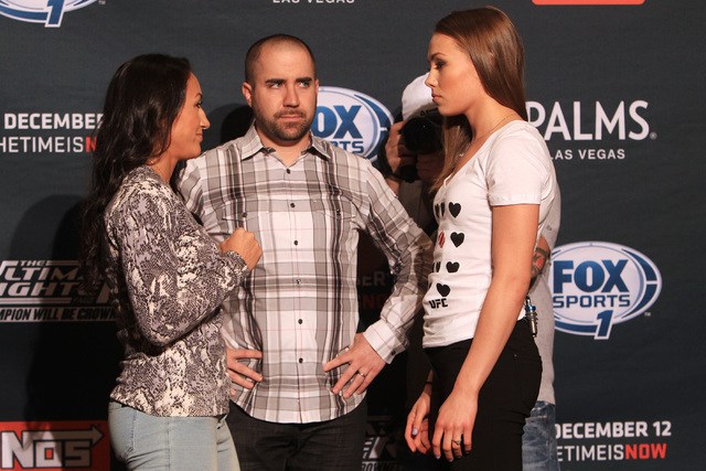 Carla Esparza, left, and Rose Namajunas face off during media day in advance of The Ultimate Fighter 20 finale Wednesday, Dec. 10, 2014 at the Palms. (Sam Morris/Las Vegas Review-Journal)