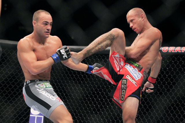 Donald Cerrone throws a kick at Eddie Alvarez during their fight at UFC 178 Saturday, Sept. 27, 2014 at the MGM Grand Garden Arena in Las Vegas. Cerone won by unanimous decision. (Sam Morris/Las V ...