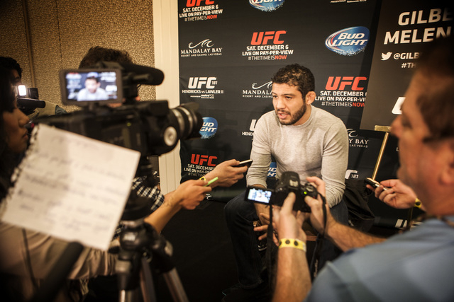 Gilbert Melendez during Media Day at the  MGM Grand on Thursday, Dec. 03, 2014. He will be fighting Anthony Pettis  in the UFC Lightweight title at the MGM on Saturday.(Jeff Scheid/Las Vegas Revie ...