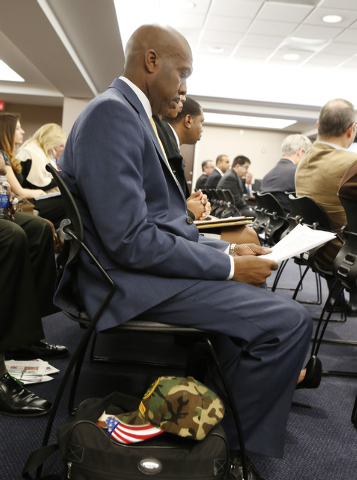 Terence Winslow, U.S. Army retired, who spoke in favor of Sam Nazarian, CEO of SBE Entertainment, before the Nevada Gaming Commission, attends the hearing on Thursday, Dec. 18, 2014. Nazarian appe ...