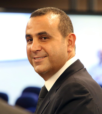 Sam Nazarian, CEO of SBE Entertainment, smiles after appeaing before the Nevada Gaming Commission on Thursday, Dec. 18, 2014. Nevada Gaming Commission approved SLS Las Vegas a one-year limited lic ...