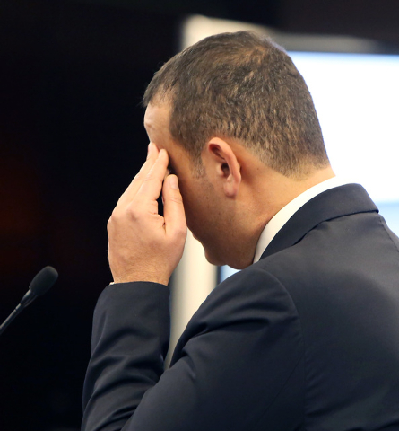 Sam Nazarian, CEO of SBE Entertainment, pauses as he appears before the Nevada Gaming Commission on Thursday, Dec. 18, 2014. Nevada Gaming Commission approved SLS Las Vegas a one-year limited lice ...