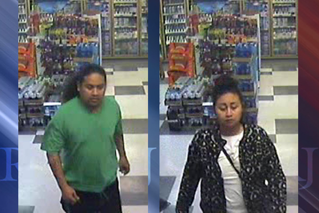 Photos show two people sought in connection with the death of a 51-year-old man whose body was found Saturday evening behind a Green Valley Grocery. (LVMPD)