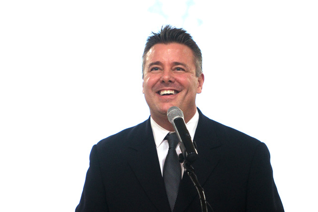 Spring Valley High School teacher Ian Salzman speaks after being named Nevada teacher of the year Friday, Dec. 19, 2014. (Sam Morris/Las Vegas Review-Journal)