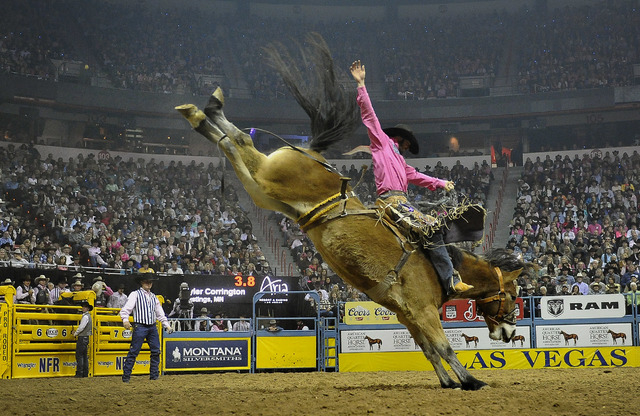 Tyler Corrington of Hastings, Minn. competes in the saddle bronc riding during the fifth go-round of the National Finals Rodeo at the Thomas & Mack Center on Monday, Dec. 8, 2014, in Las Vegas.  ( ...