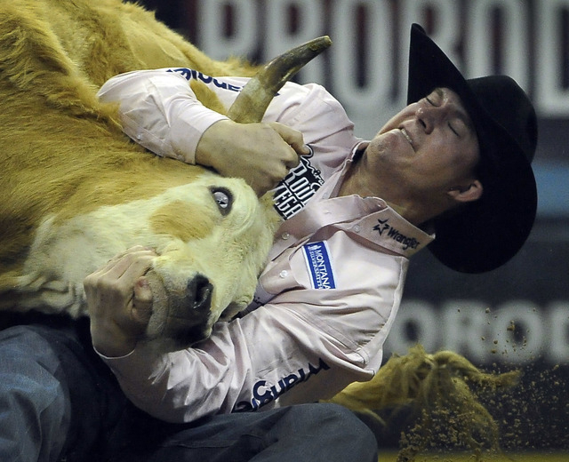 Ty Erickson of Helena, Mont. competes in the steer wrestling during the fifth go-round of the National Finals Rodeo at the Thomas & Mack Center on Monday, Dec. 8, 2014, in Las Vegas.  (David Becke ...