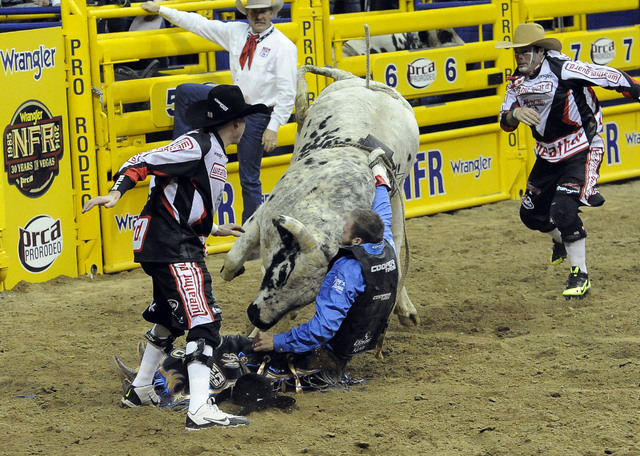 PRCA bull rider J.W. Harris suffers a concussion from being hit with horn of Sutton Rodeos' Johnny Ringo during the eighth go-round of the National Finals Rodeo on Thursday. Harris suffered a conc ...