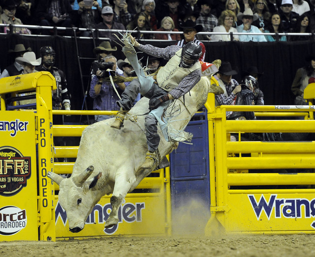 Bull rider Josh Koschel from Nunn, Colo., is bucked off his bull during the tenth go-round of the National Finals Rodeo at the Thomas & Mack Center in Las Vegas, Saturday, Dec. 13, 2014. (Josh Hol ...