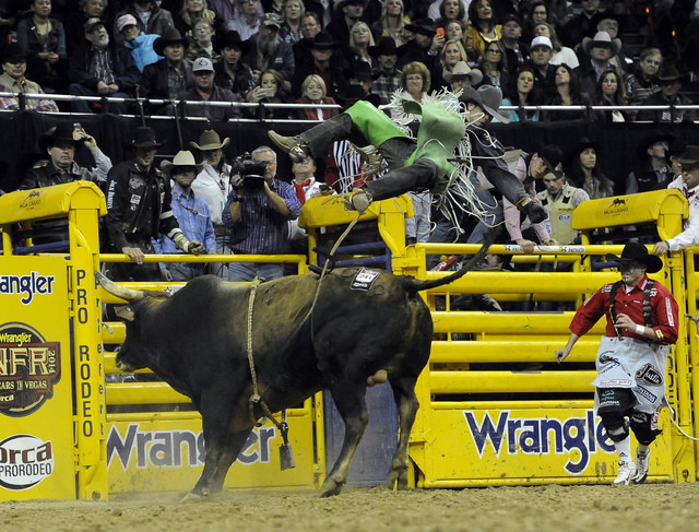 Bull rider Aaron Pass from Dallas, Texas, is bucked off his bull during the tenth go-round of the National Finals Rodeo at the Thomas & Mack Center in Las Vegas, Saturday, Dec. 13, 2014. (Josh Hol ...