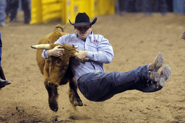 Steer wrestler Casey Martin of Sulphur, La., competes during the 2012 National Finals Rodeo at the Thomas & Mack Center. Having finished second in the world last year, Martin leads the steer wrest ...