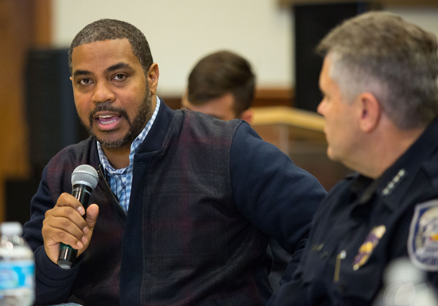 Rep. Steven Horsford talks during a forum to discuss policing in minority communities at Ebenezer Church of God in Christ, located at 1072 W. Bartlett Ave., Friday, Dec. 19, 2014. Approximately 30 ...