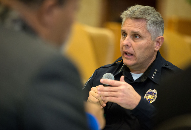 North Las Vegas Chief Joseph Chronister talks during a forum to discuss policing in minority communities at Ebenezer Church of God in Christ, located at 1072 W. Bartlett Ave., Friday, Dec. 19, 201 ...