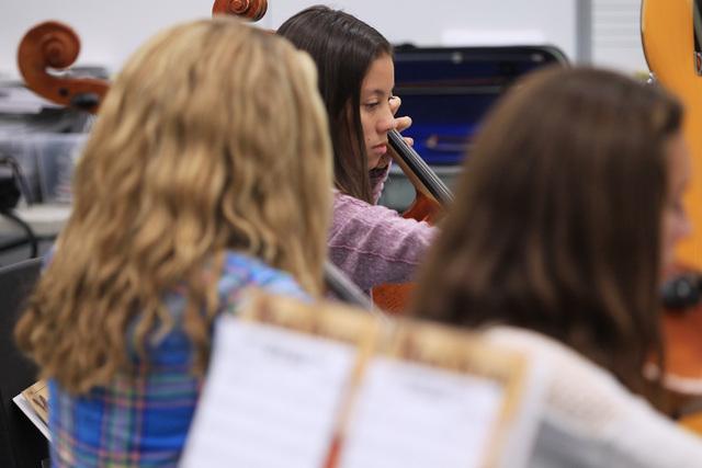 Kiana Crane plays cello during a chamber orchestra class at Shadow Ridge High School Thursday, Nov. 20, 2014. (Sam Morris/Las Vegas Review-Journal)