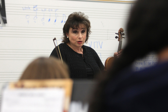 Stephanie Smith directs students during a chamber orchestra class at Shadow Ridge High School Thursday, Nov. 20, 2014. (Sam Morris/Las Vegas Review-Journal)