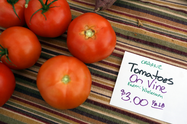 Tomatoes are shown at the On the Ranch Farmers and Artisan Market at Craig Ranch Regional Park Sunday, Dec. 7, 2014, in North Las Vegas. The weekly farmers market includes fresh produce, artisan g ...