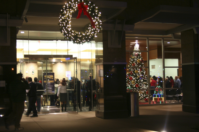 People gathered for a tree lighting ceremony for the City of North Las Vegas, Dec. 1, 2011. The ceremony also celebrated the grand opening of the new North Las Vegas City Hall building, 2250 Las V ...