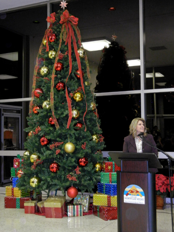 North Las Vegas Mayor Shari Buck speaks during a Christmas tree lighting ceremony in the foyer of City Hall on Wednesday, Dec. 1, 2010. This year's tree lighting event is scheduled at 5 p.m. Dec.  ...
